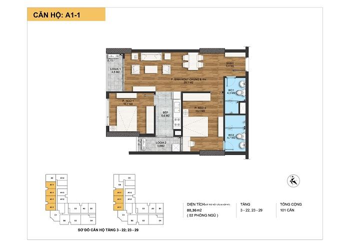 Kiến trúc căn hộ A1-1 tại Dự án