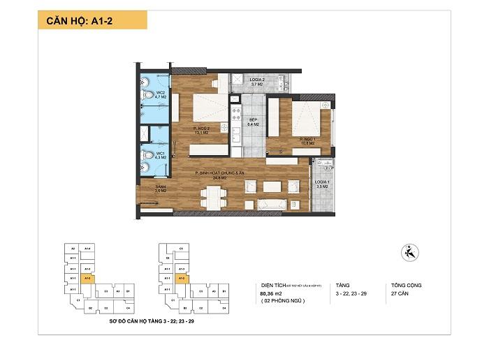Kiến trúc căn hộ A1-2 tại Dự án