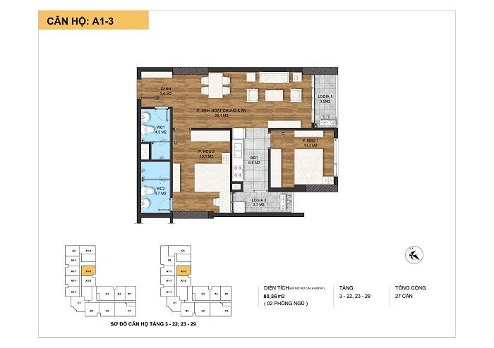 Kiến trúc căn hộ A1-3 tại Dự án