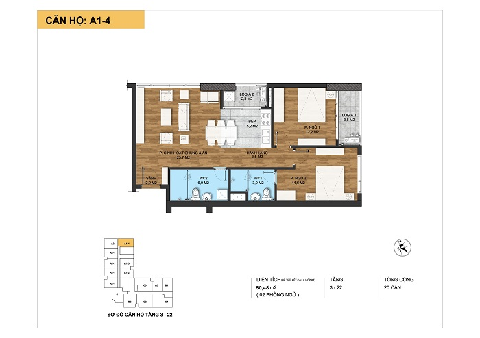 Kiến trúc căn hộ A1-4 tại Dự án