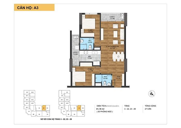 Mặt bằng chi tiết loại căn hộ A3