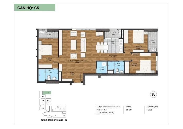 Thiết kế điển hình loại căn hộ C5 tại Dự án