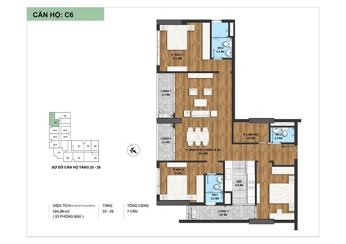Mặt bằng chi tiết loại căn hộ C6