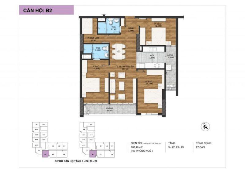 thiết kế chi tiết loại căn hộ 3 ngủ tại Dự án The Park Home