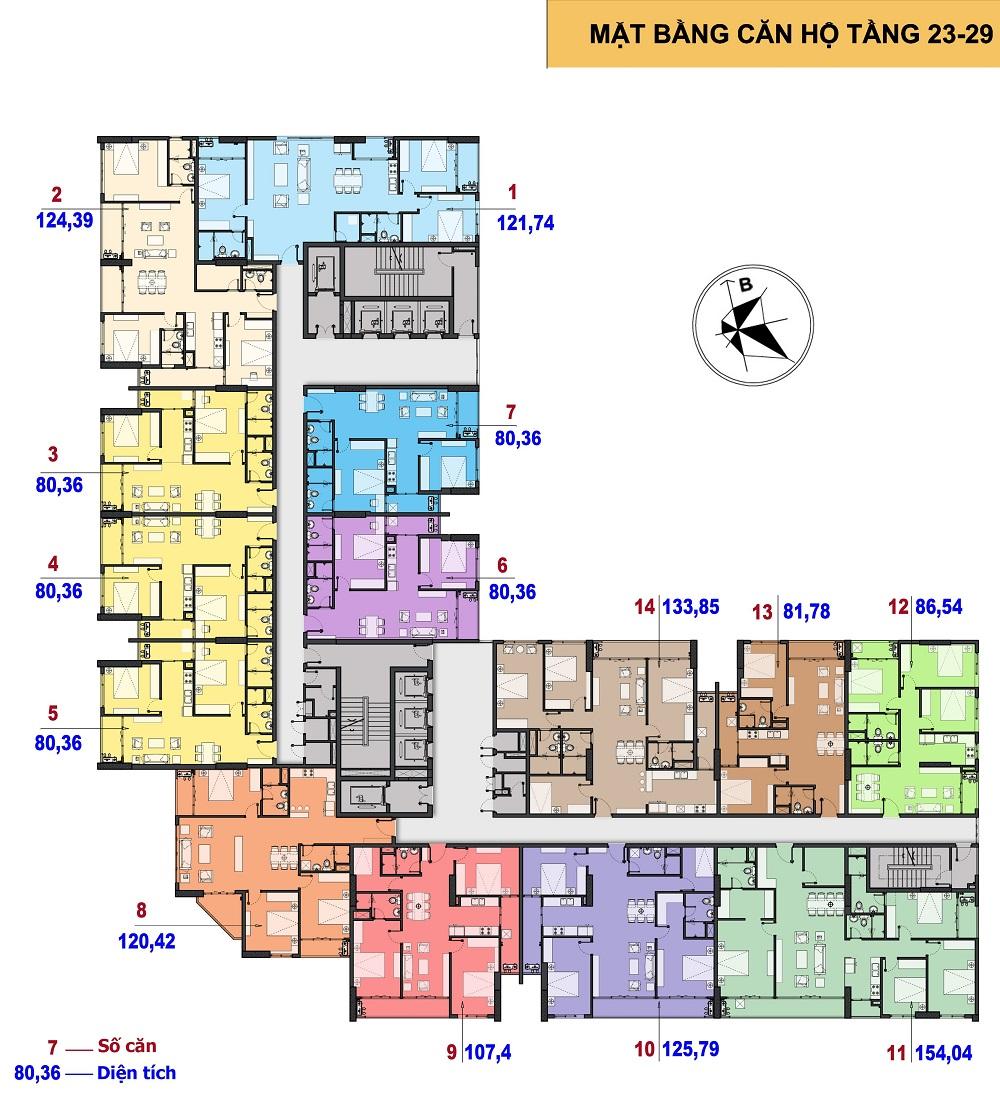 Mặt bằng điển hình tầng 23 - 29 chung cư the Park Home